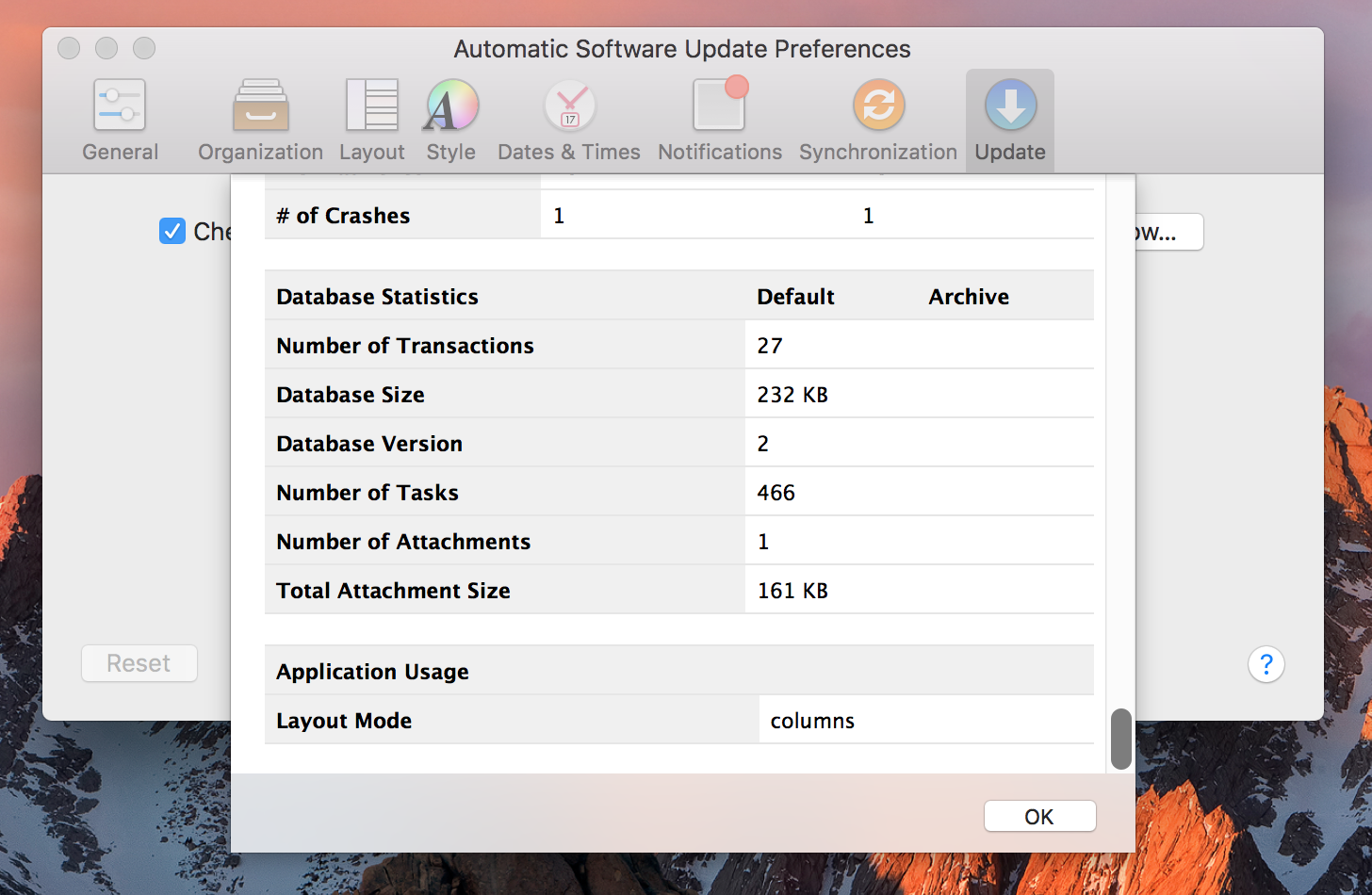 Database Statistics in OmniFocus 2.7 for Mac
