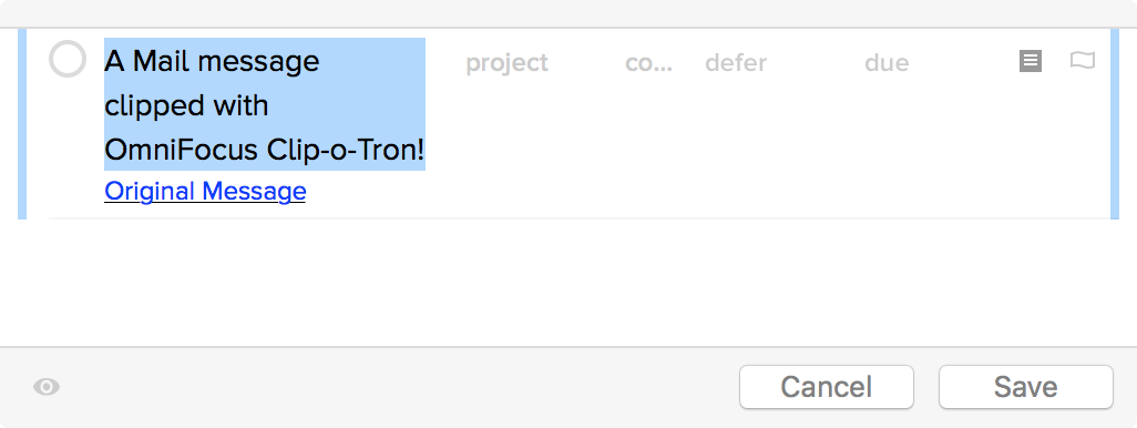 An email message in OmniFocus Quick Entry, clipped from Mail with Clip-o-Tron