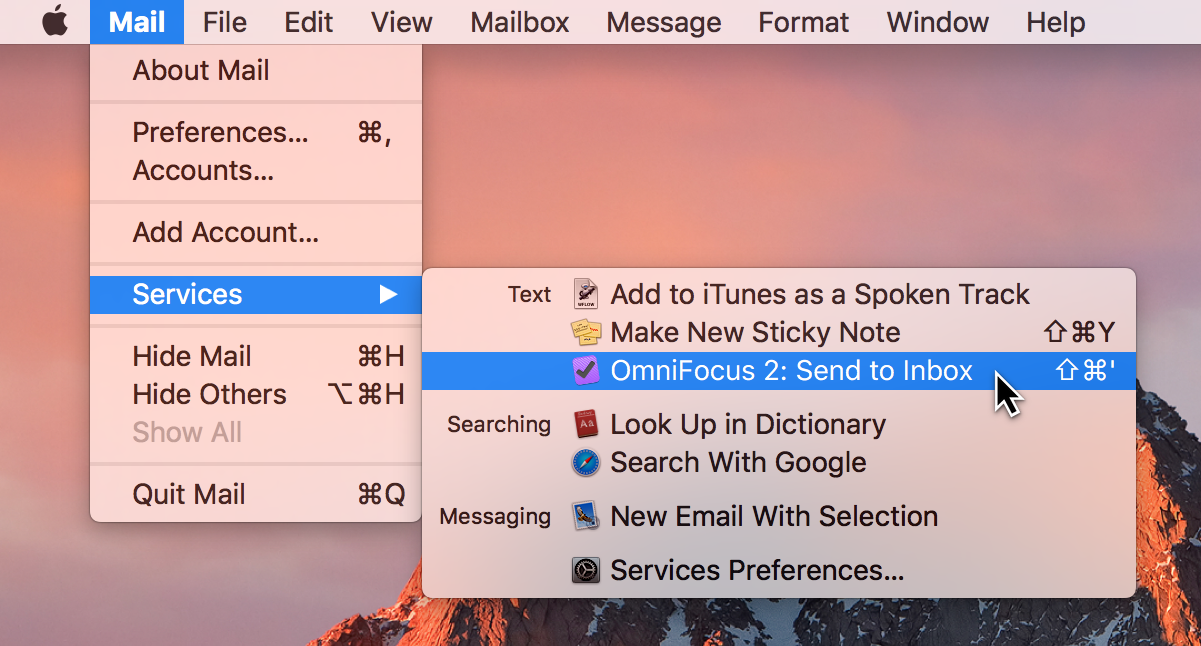 Selecting the OmniFocus Clipping Service from the Menu Bar