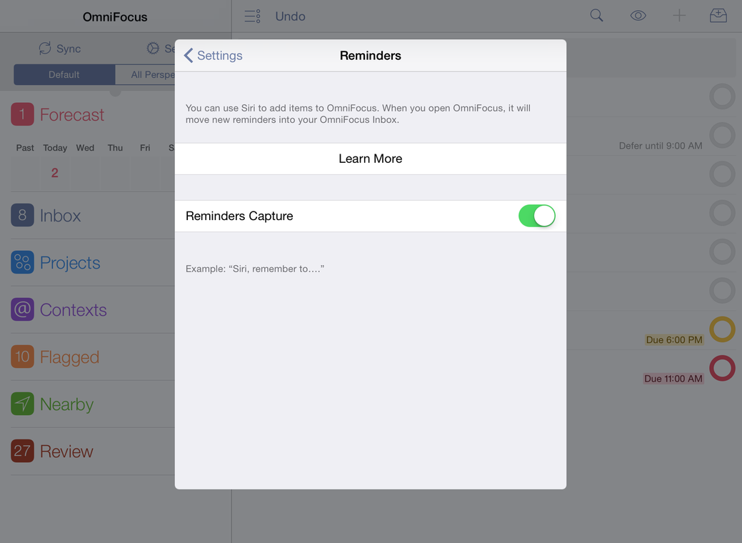 OmniFocus 2 for iPad — Reminders Capture Settings