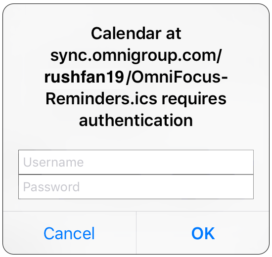 "iOS Error: ""Calendar at sync.omnigroup.com/rushfan19/OmniFocus-Reminders.ics requires authentication"""