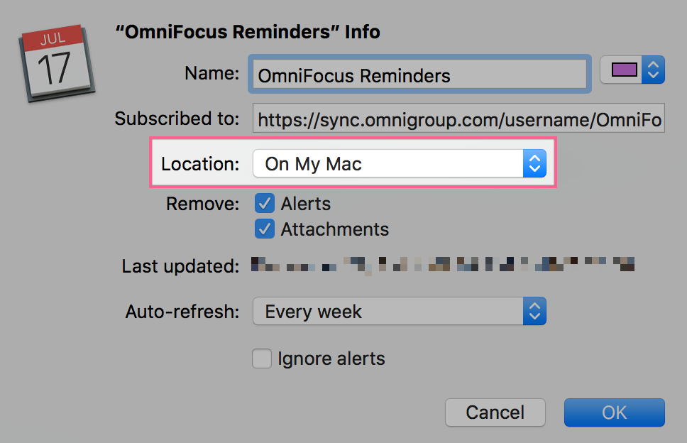 "The ""Get Info"" window for the OmniFocus Calendar Alarms subscription, set to ""On My Mac"""