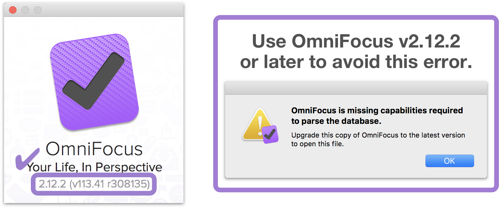 For syncing with OmniFocus 3, use OmniFocus 2.12.2 for Mac or later to avoid an error message.