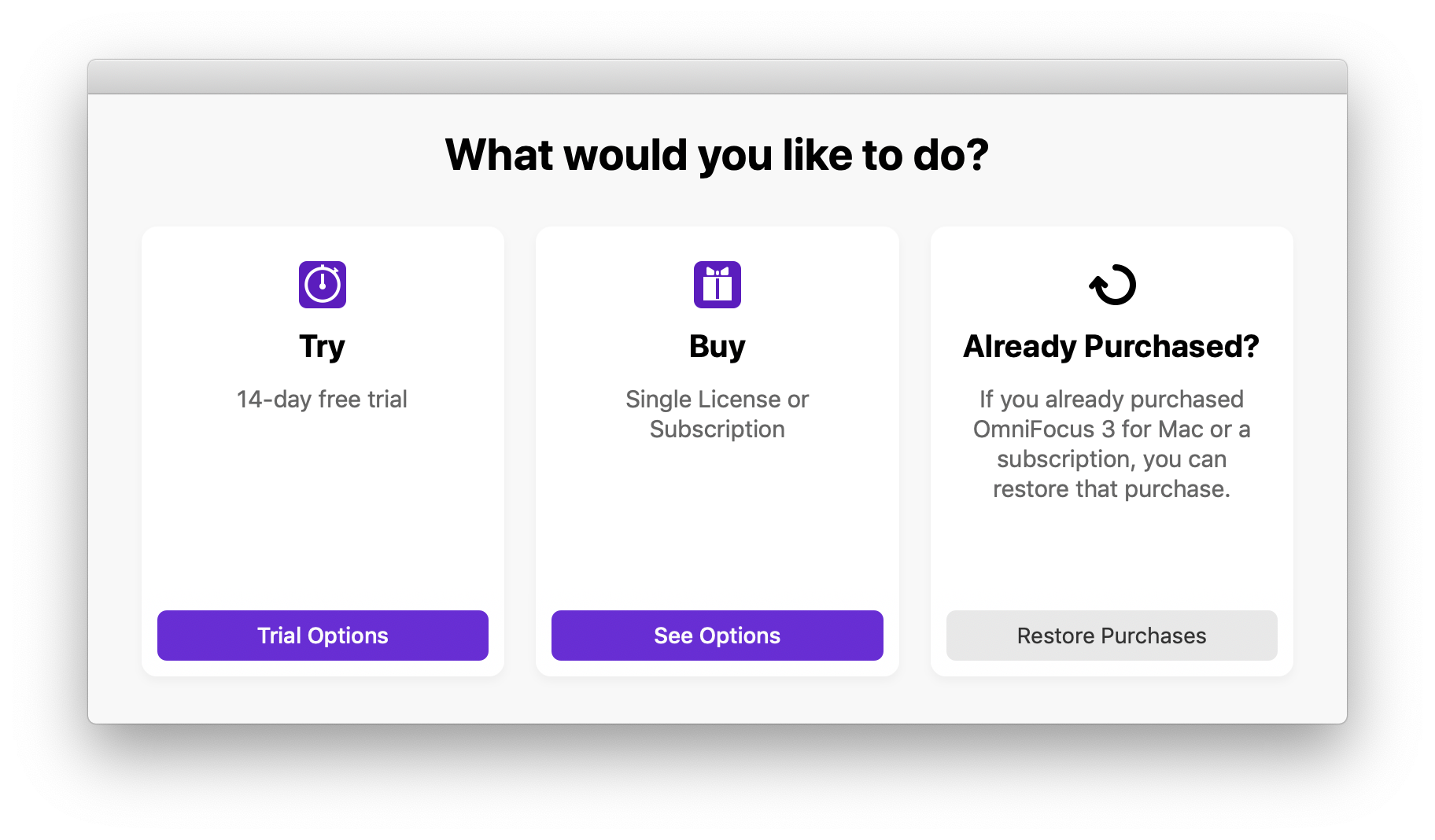 Choosing to try the app or get started with an OmniFocus Pro subscription in OmniFocus 3 for Mac.