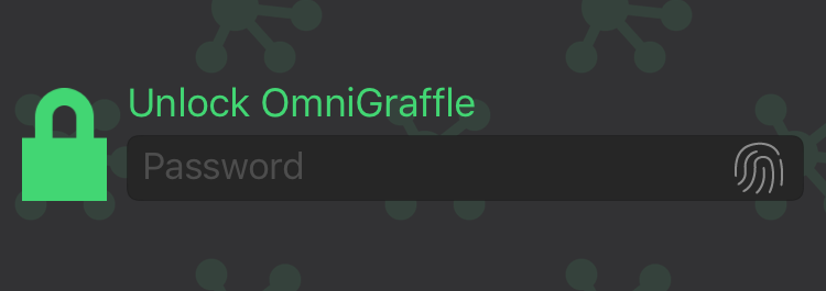 the app lock privacy screen with a field for password input - Omnigraffle App