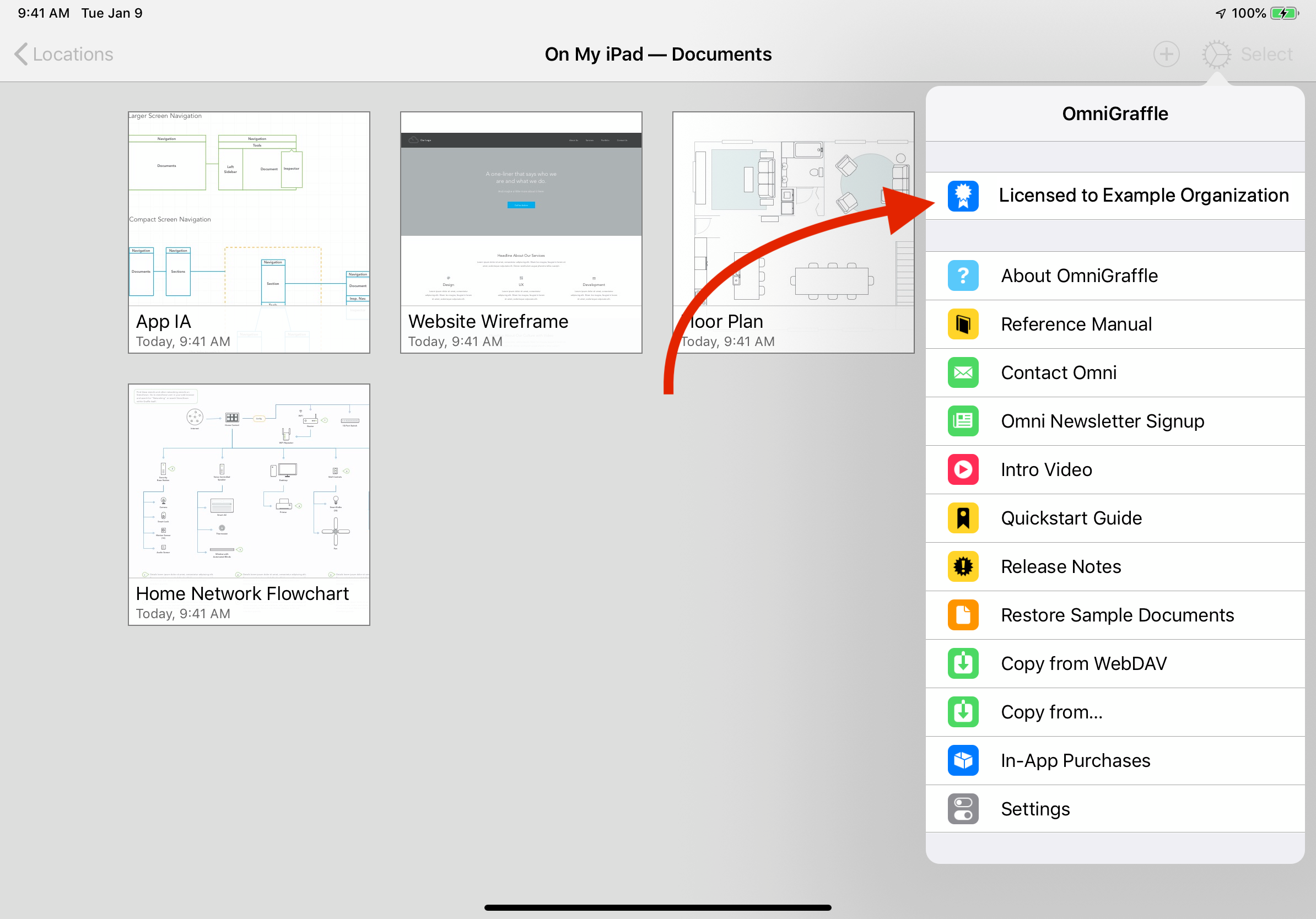 App Menu in the Document Browser of OmniGraffle for iOS