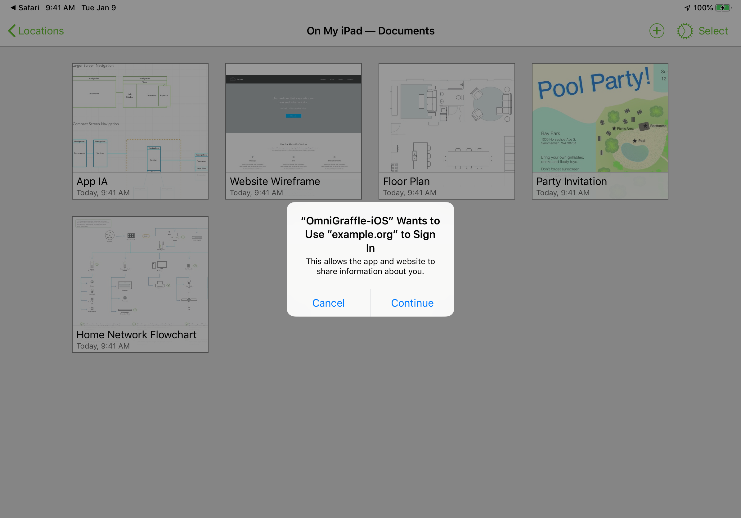 """iOS request for access to Safari session"" prompt in OmniGraffle for iOS"