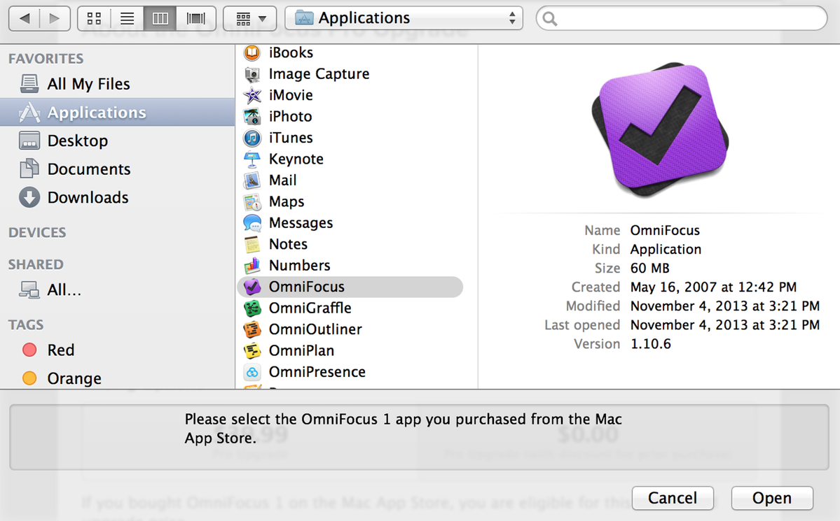 Select the OmniFocus 1 Application