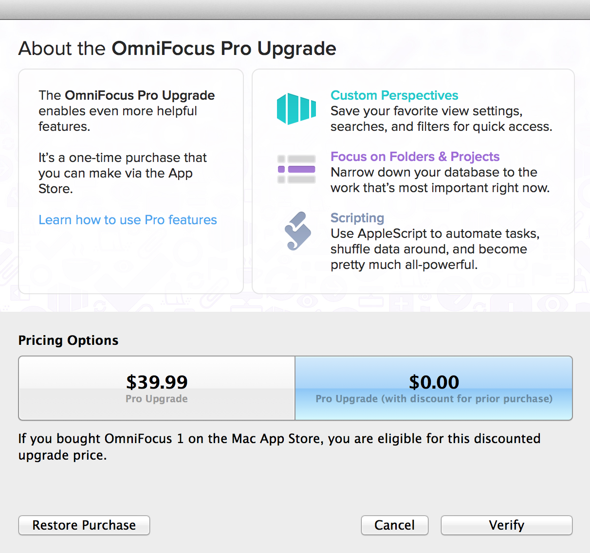 About the OmniFocus Pro Upgrade