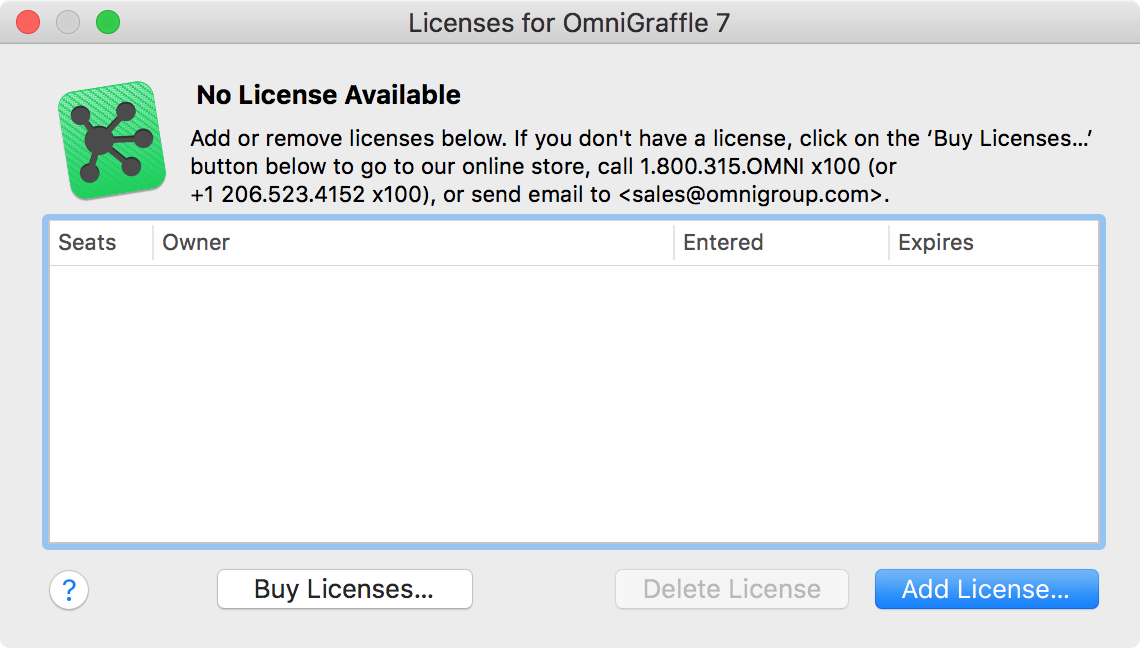 The OmniGraffle license panel