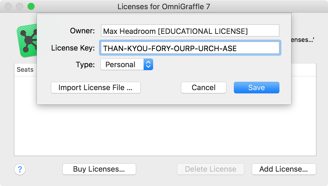 The license panel with a license entered