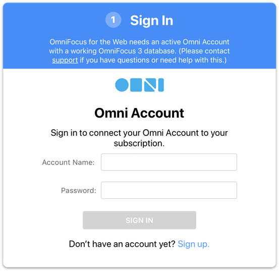 Logging in to your OmniFocus Account from the Omni Store subscription page.