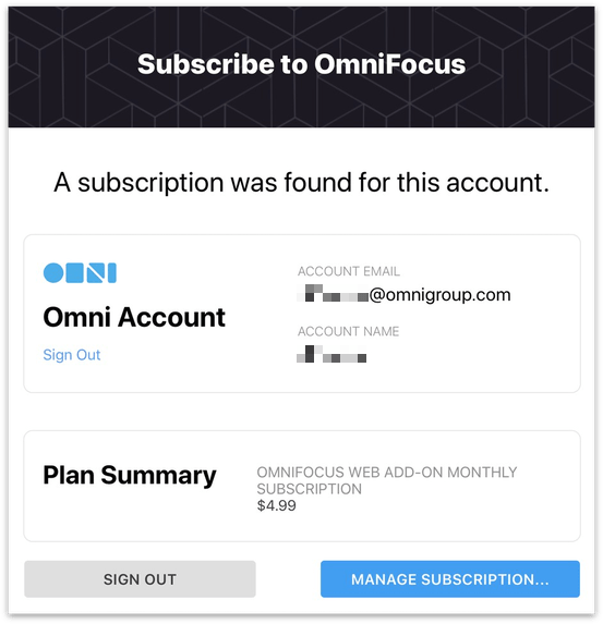 A summary of your subscription purchased from the Omni Store.