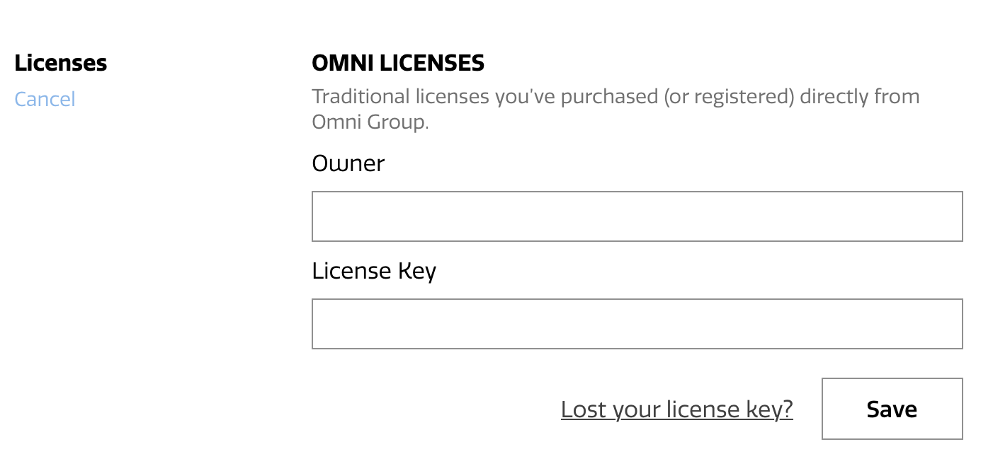 The Licenses section of the Omni Accounts management page, displaying fields for registering an Omni License