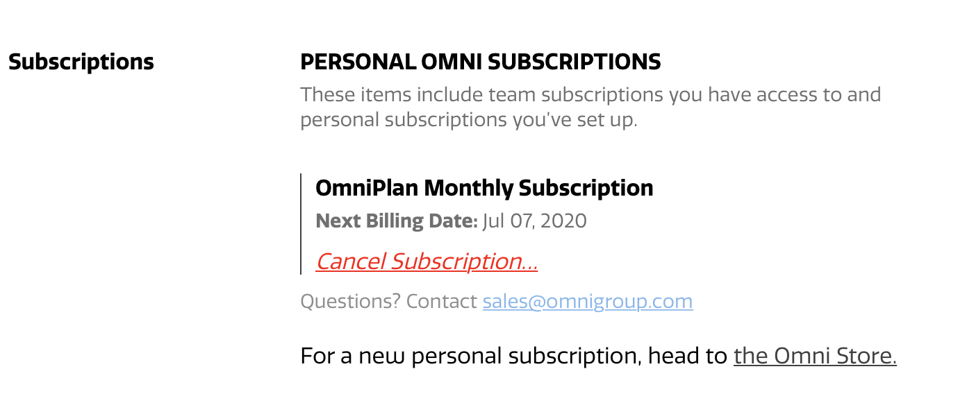 The Subscription section of the Omni Accounts management page, with subscription overview and cancel options, and link to the Omni Store