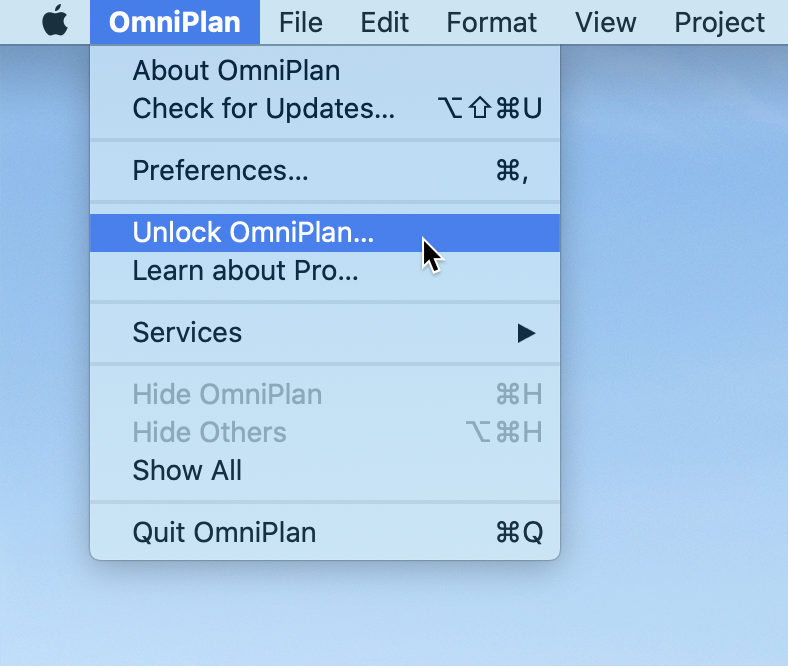 The Application menu open, with the Unlock OmniPlan item highlighted