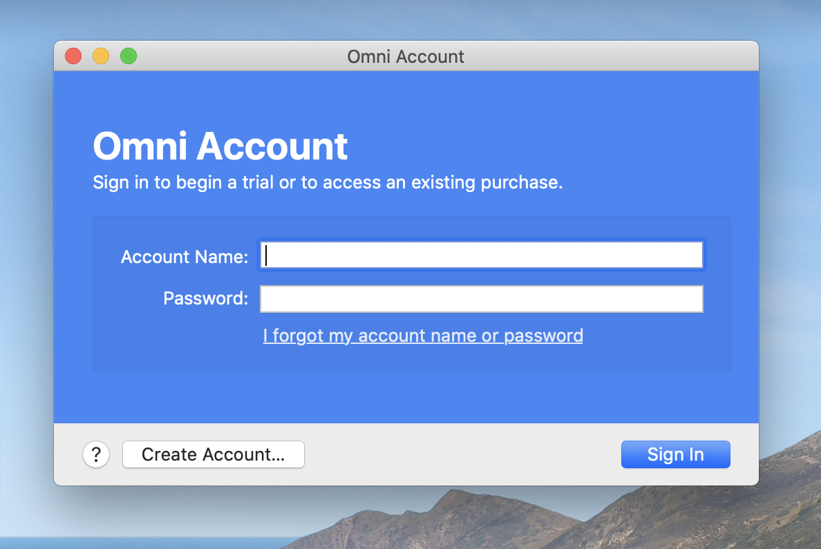 The Omni Account login window, with Account Name and Password fields visible, and options below to Sign In or Create Account