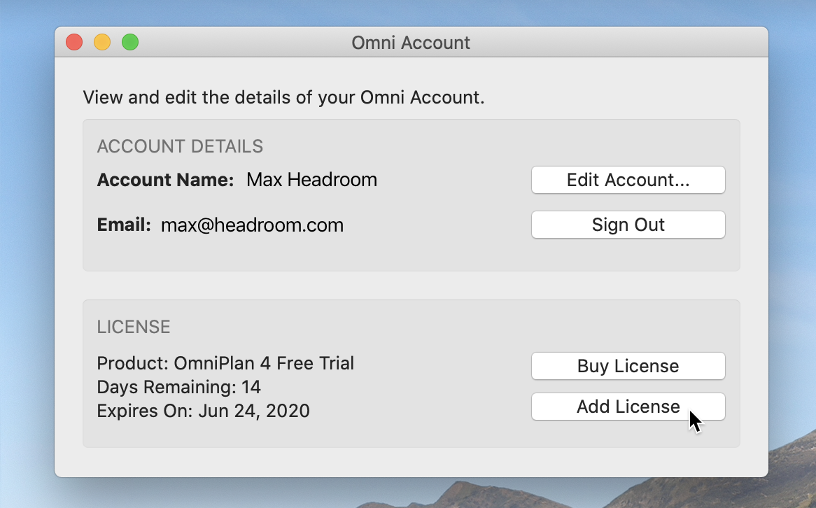 The Omni Account window, showing Account Details including Account Name and Email, and License information, with options to Buy License or Add License. The cursor hovers over the Add License button.