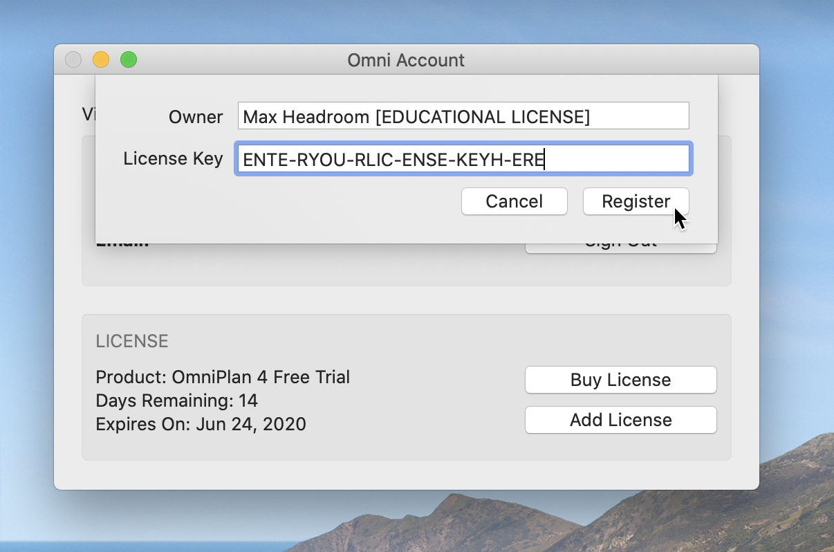 The Add License pop-over, with Owner and License Key fields, with options to Cancel or Register. A license code has been entered, and the cursor overs over the Register button.