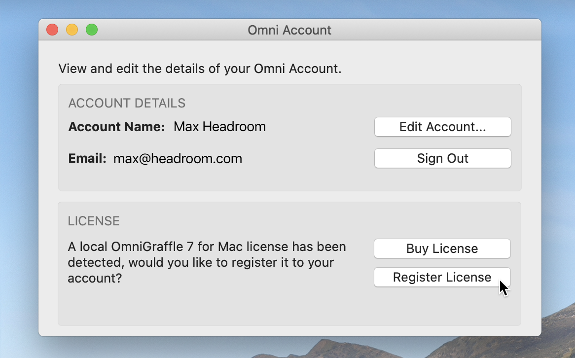 "The Omni Account window, showing Account Details including Account Name and Email, and License information, with the message ""A local OmniGraffle 7 for Mac license has been detected, would you like to register it to your account? This section contains options to Buy License or Register License; the cursor hovers over the Register License button."