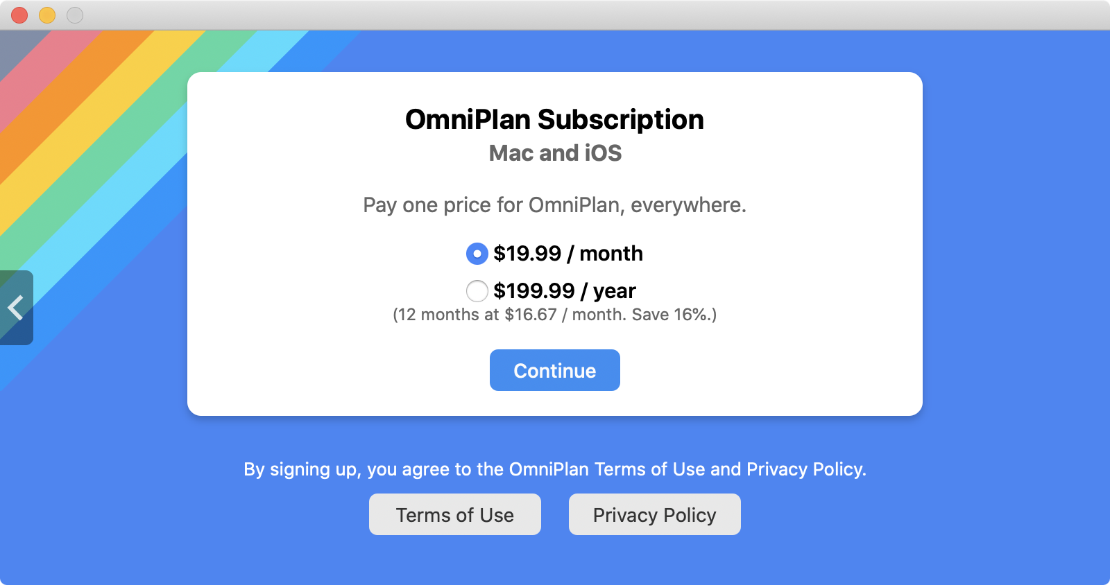 OmniPlan 4 In-App Subscriptions