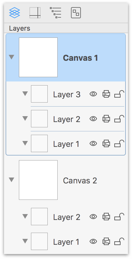 Managing Canvases, Layers, and Objects in the Sidebar