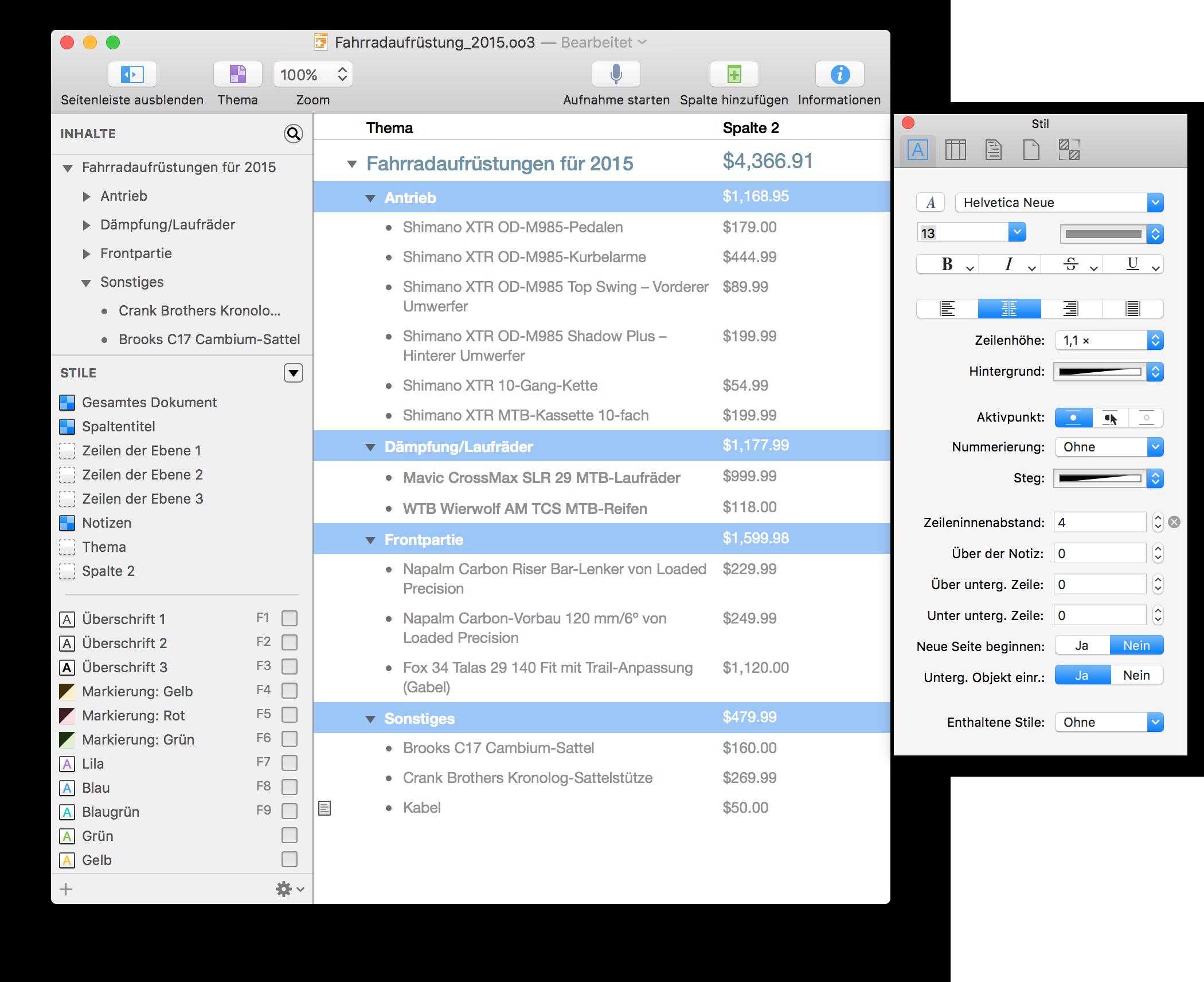 OmniOutliner 4.5.3 für Mac-Benutzerhandbuch – Einführung