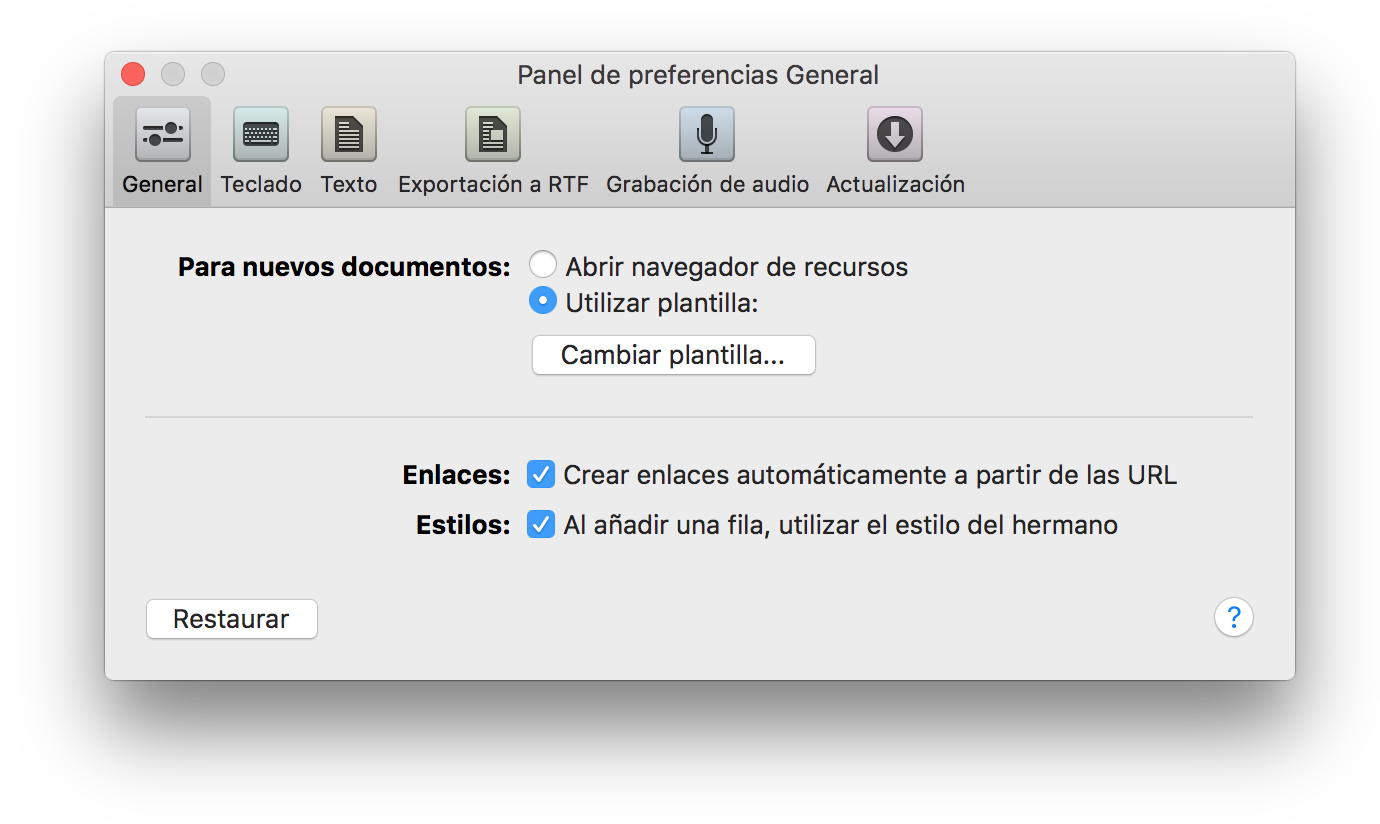 Manual del usuario de OmniOutliner 4.5.3 para Mac -- Preferencias