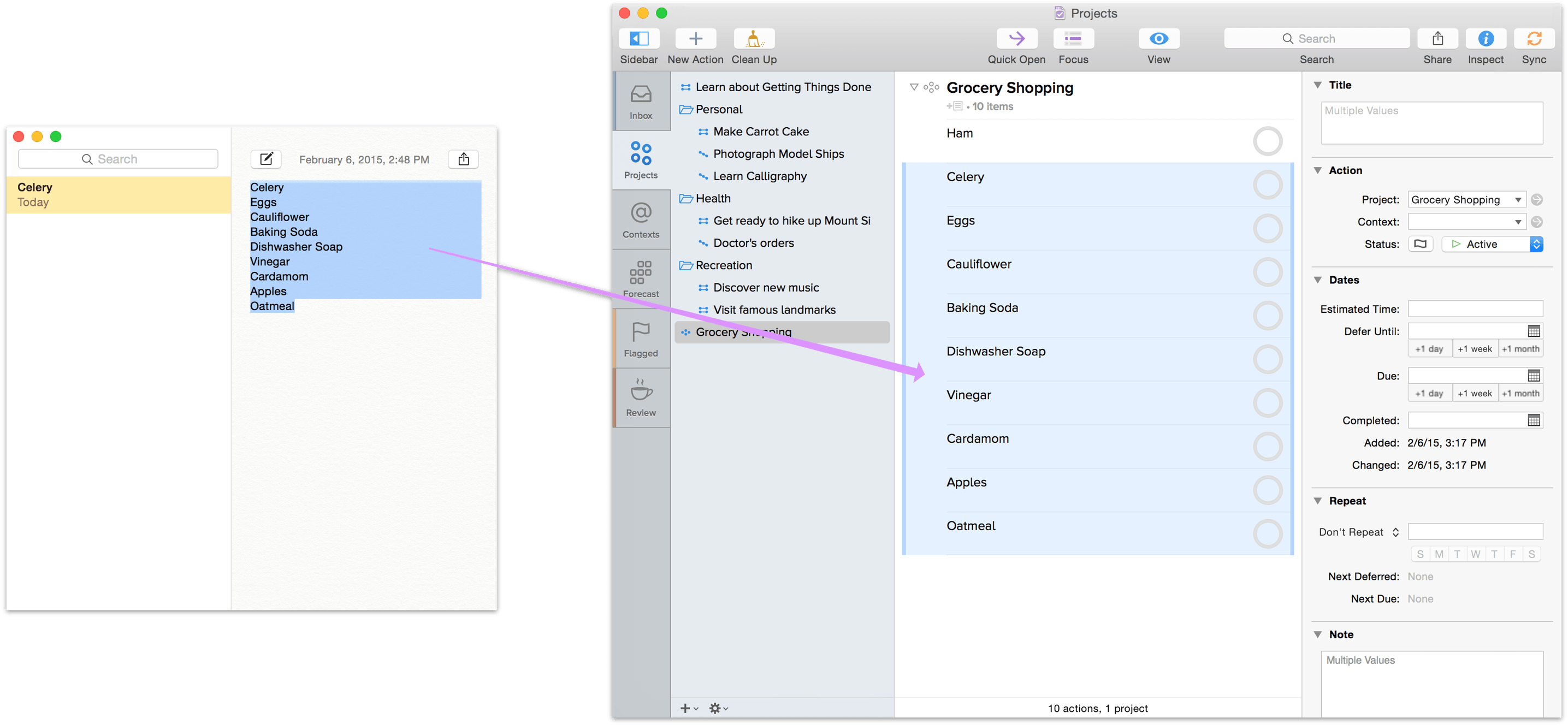 Copying a Grocery List from Notes into OmniFocus, as Actions