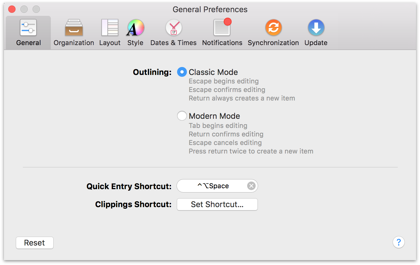 OmniFocus 2 for Mac General Preferences.