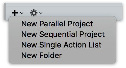 Adding a new folder with the Plus menu beneath the projects list in the Projects perspective.
