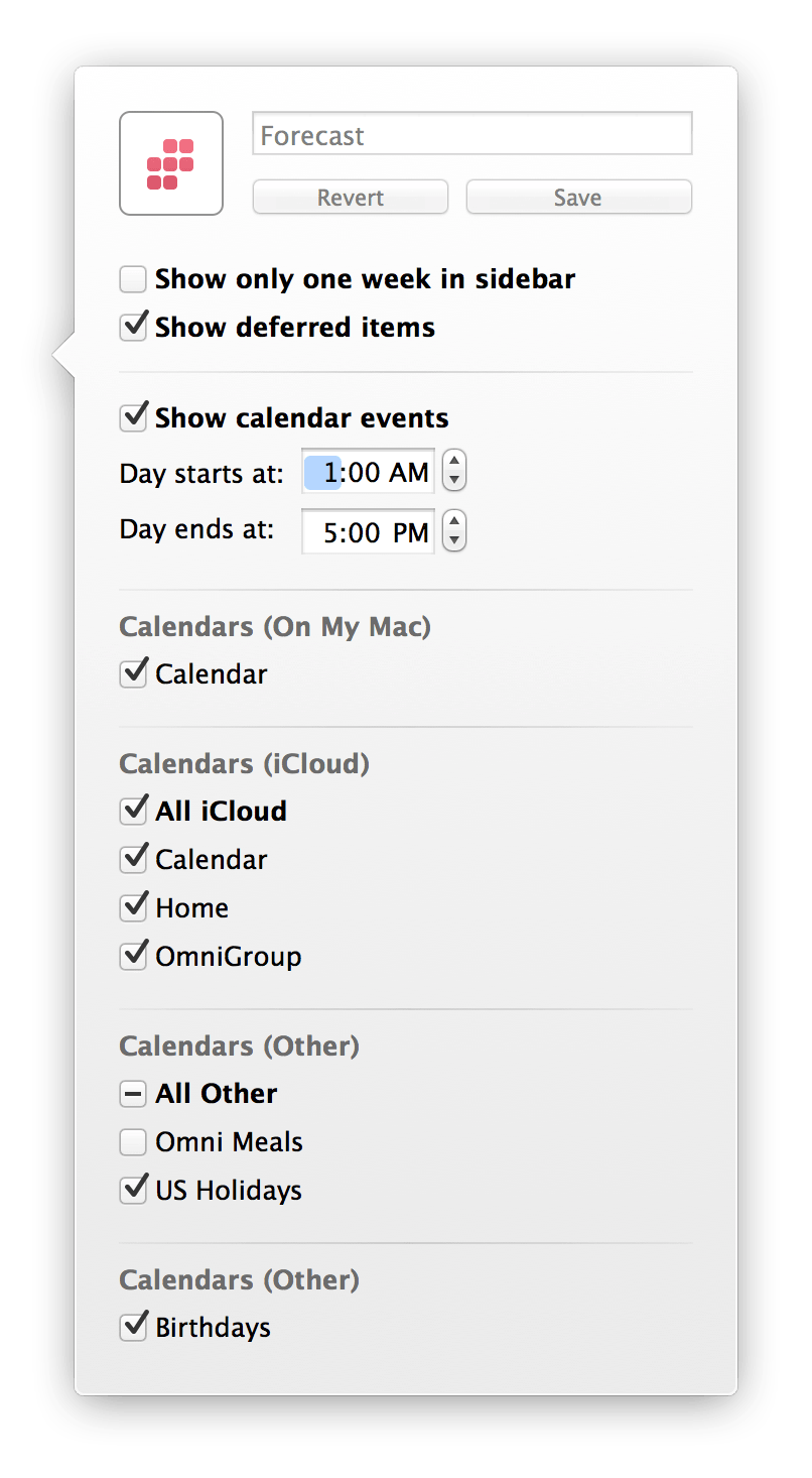 Use View options to select which of your Calendars will also appear in OmniFocus