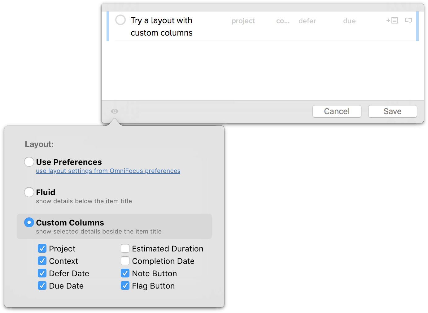 View options for the Quick Entry window in OmniFocus Pro.