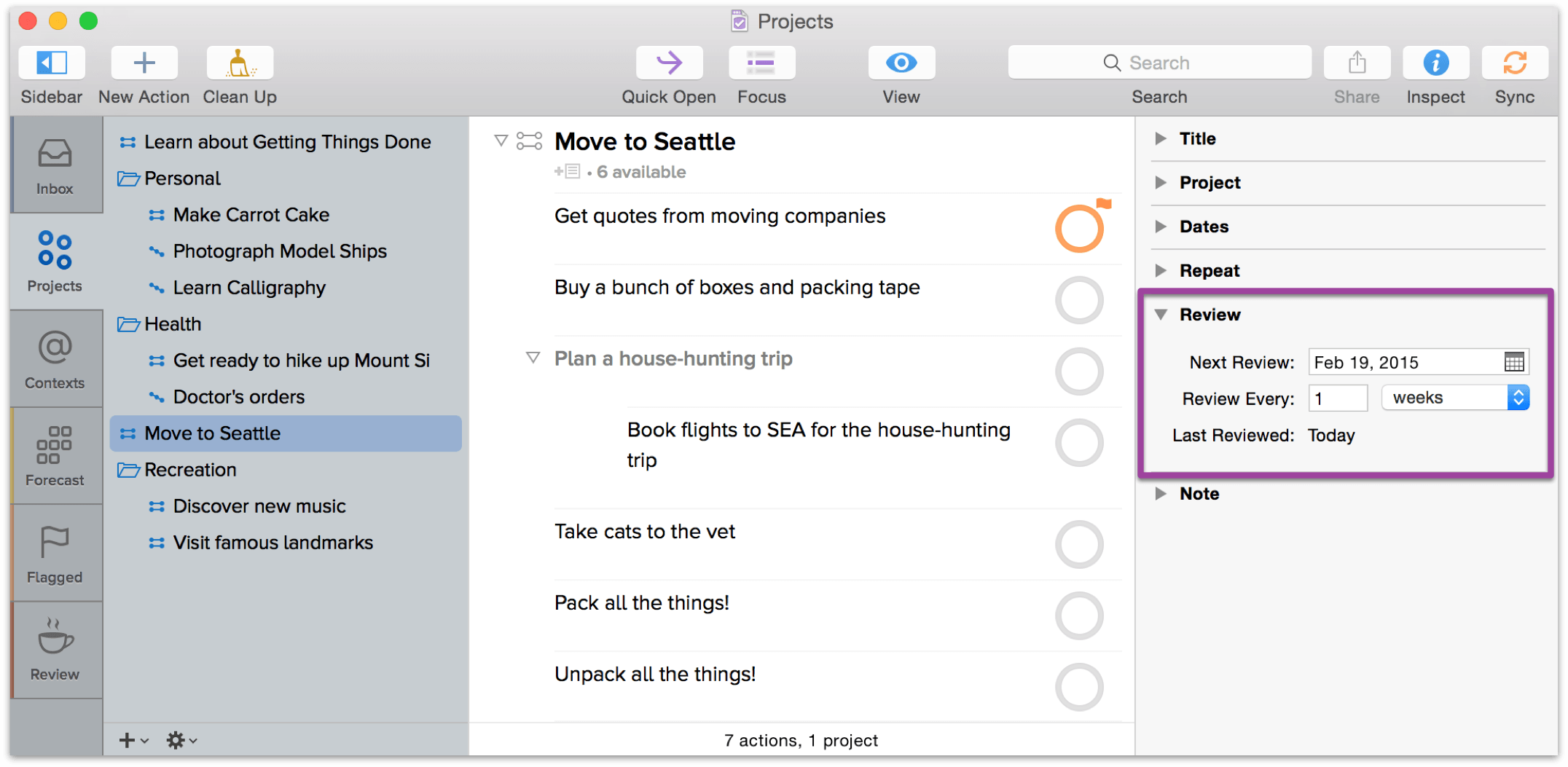 You can also use the Review inspector to adjust how frequently you plan to review your projects