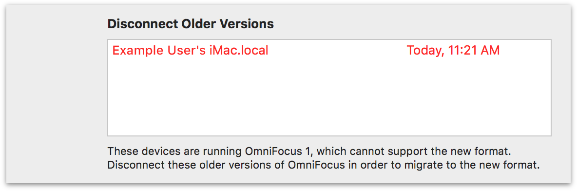 A device running OmniFocus 1 that is unable to upgrade to the new database format.