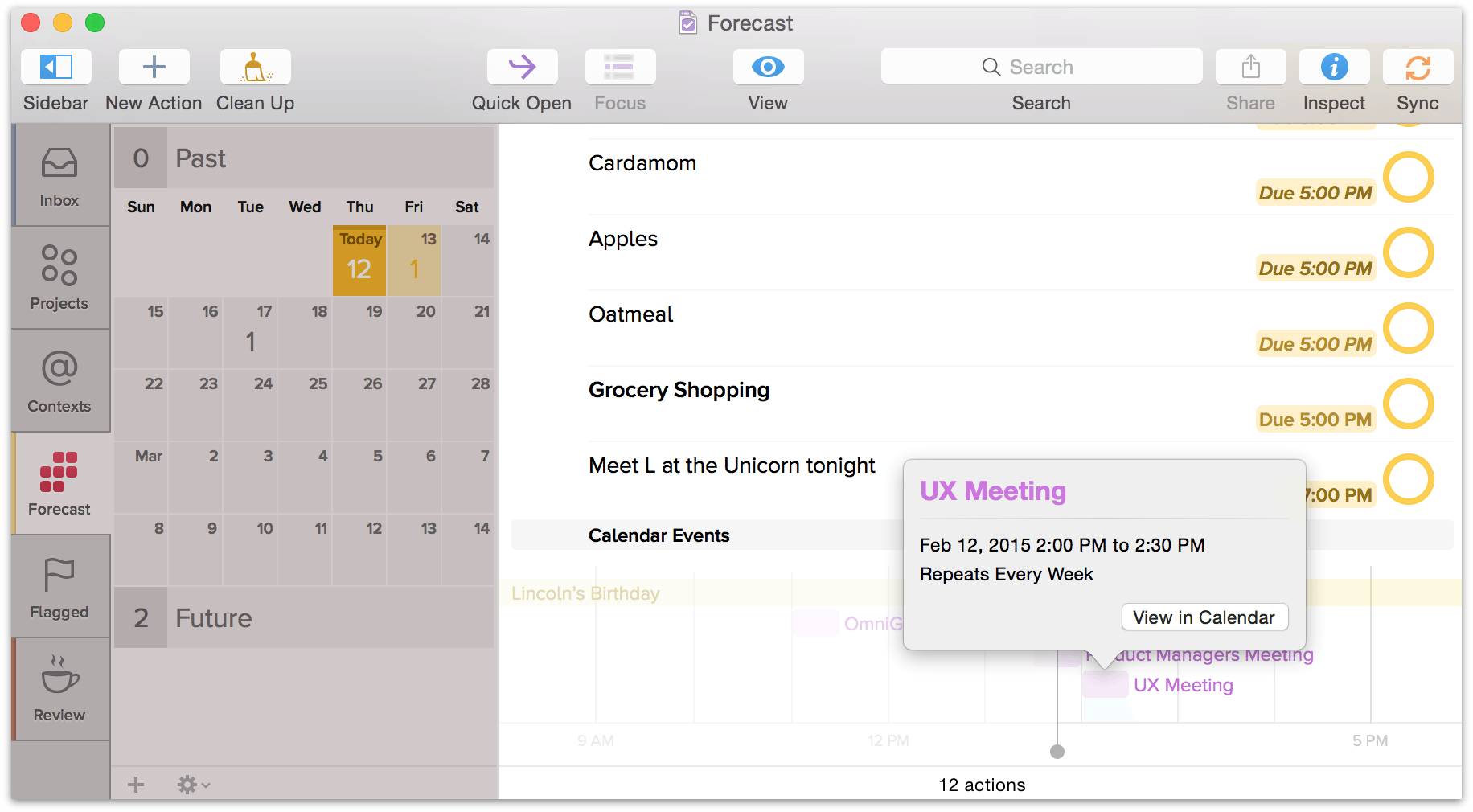 Click View in Calendar to open calendar events in OS Xs Calendar app