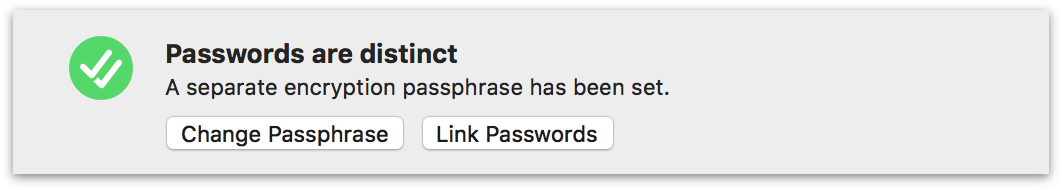 OmniFocus Encryption settings with a separate passphrase set for database encryption.