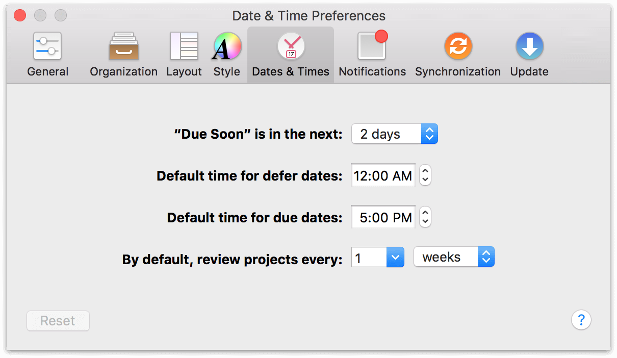OmniFocus 2 for Mac Dates & Times Preferences.