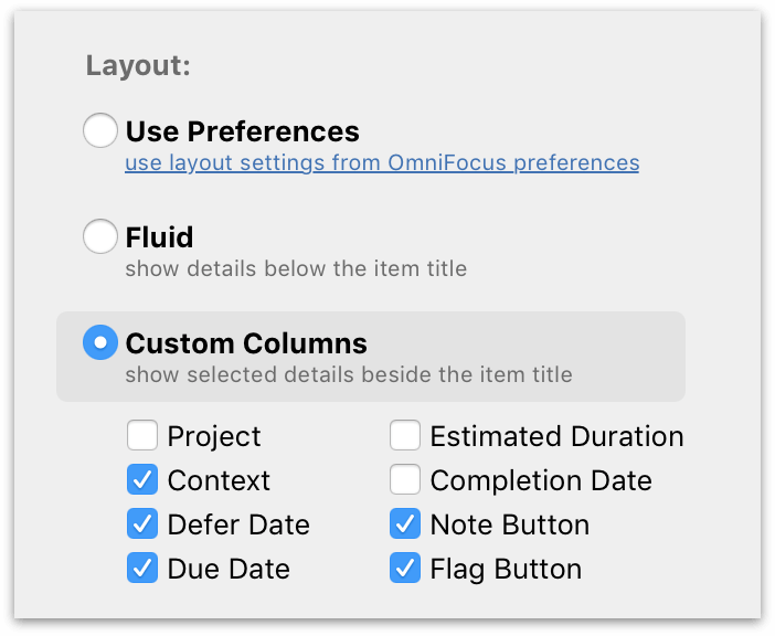 Additional view options available in OmniFocus Pro for custom columns individually tailored to each perspective.
