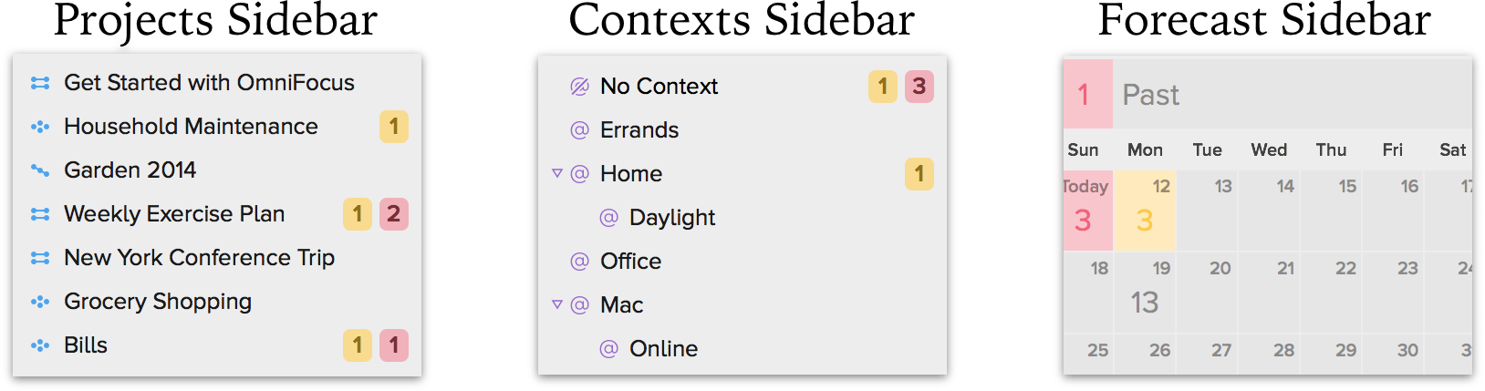Three of the various sidebars from the built-in OmniFocus 2 perspectives.