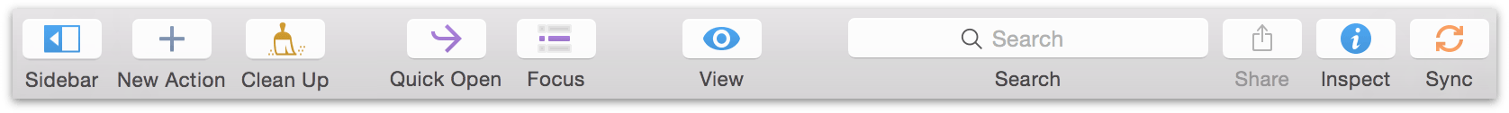 The default toolbar in OmniFocus 2.