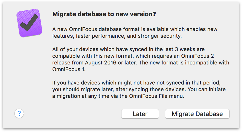 All syncing devices are ready for migration to the new database format.