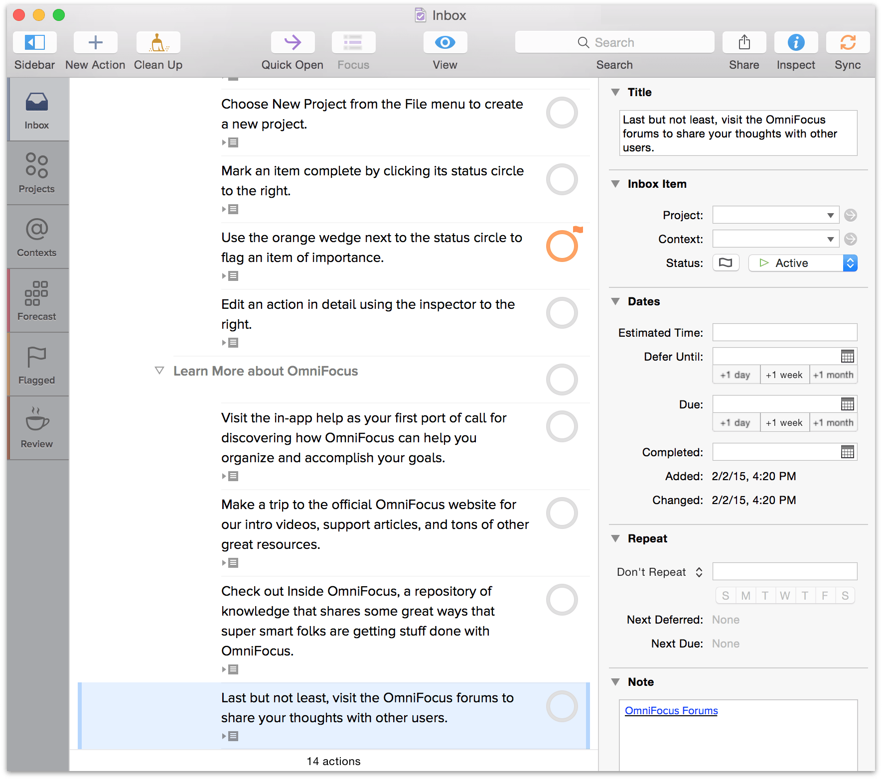 Actions can be edited in the main outline, or using the Inspector (at right)