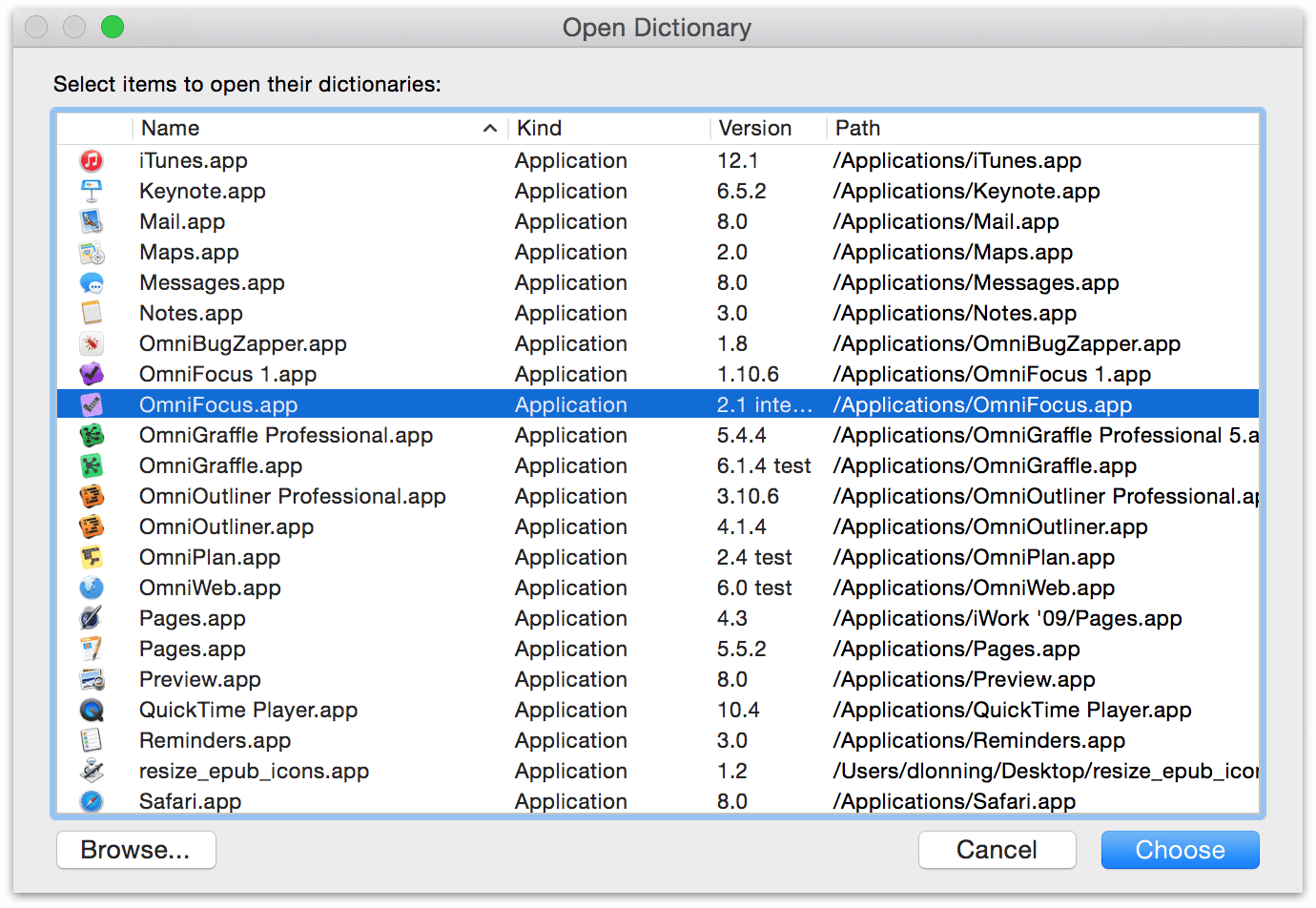 Locate OmniFocus.app in the Open Dictionary window and then click Choose