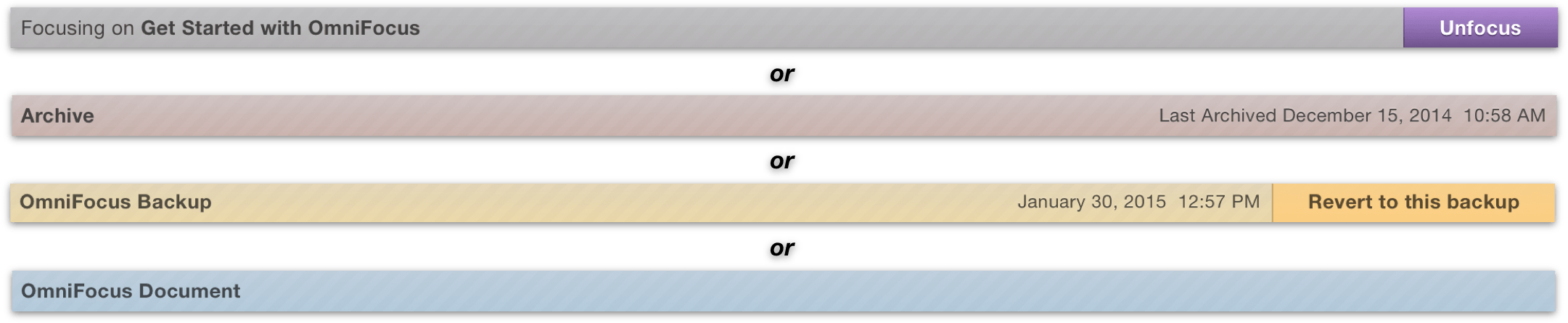 The various permutations of the focus bar.