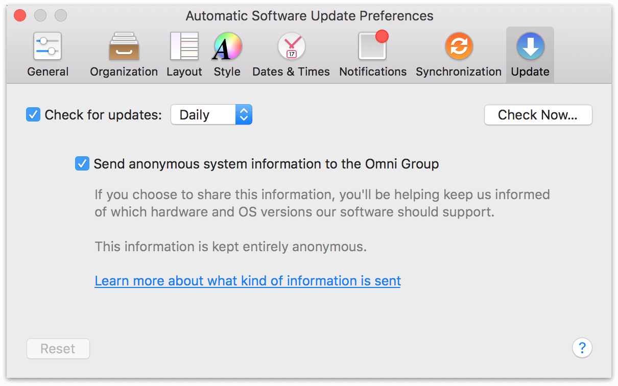 OmniFocus 2 for Mac Update Preferences.