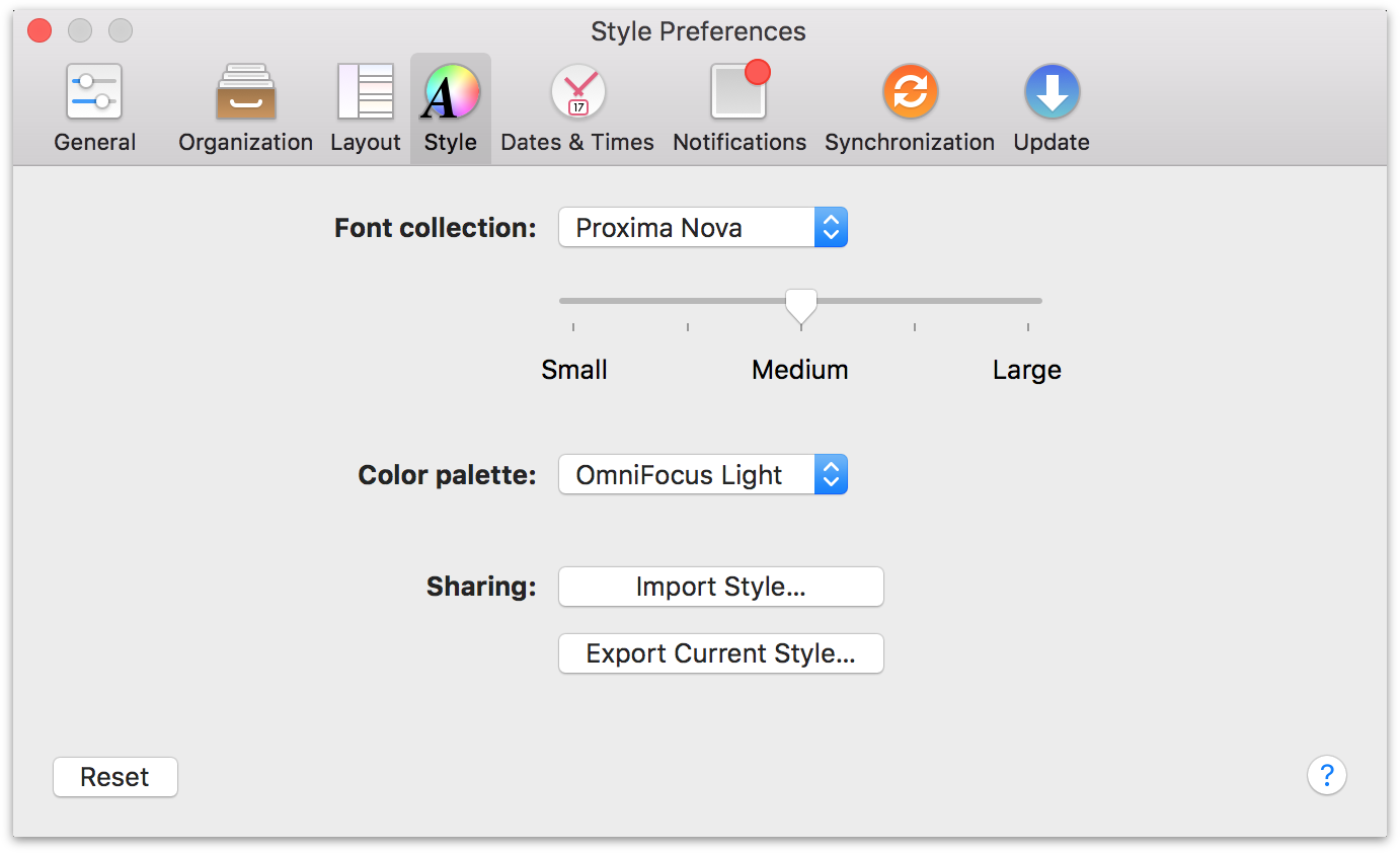 OmniFocus 2 for Mac Style Preferences.