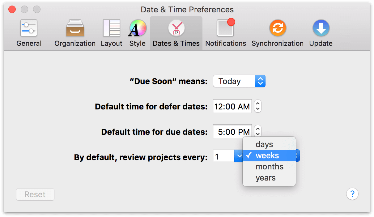 Use the Dates & Times preference to adjust how frequently you plan to review your projects