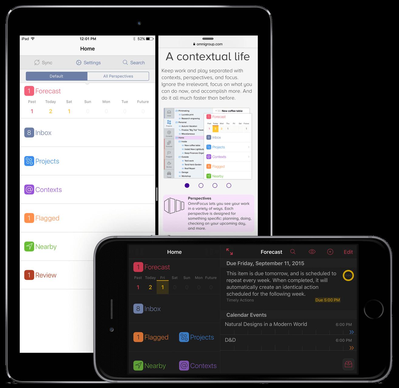 OmniFocus 2 for iOS in landscape orientation on iPhone 6 Plus, and in  portrait orientation