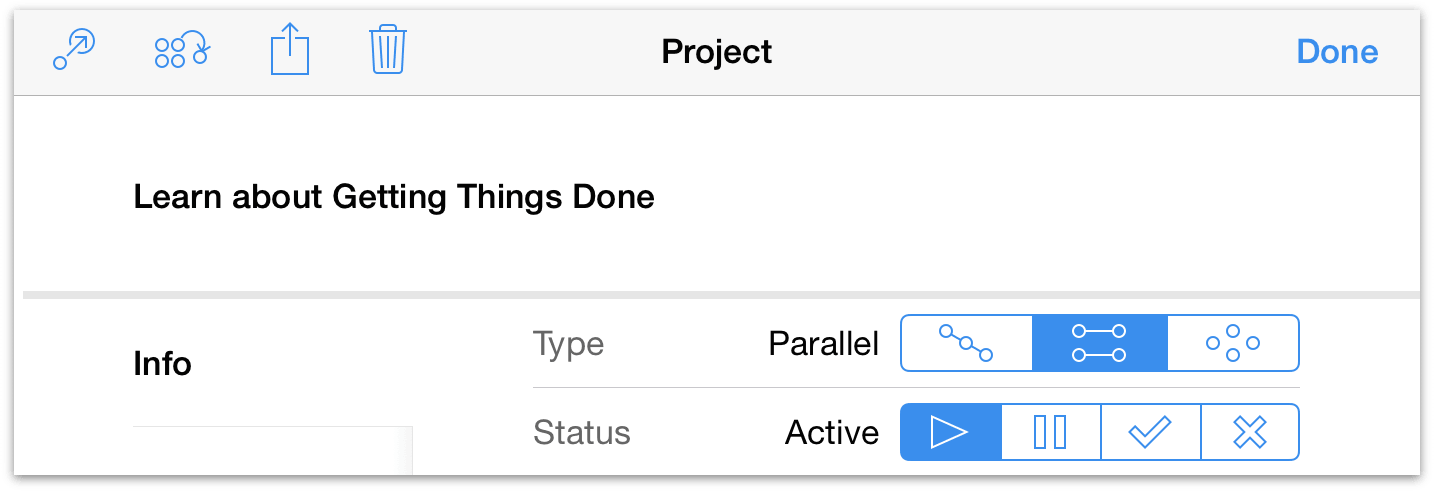 The project editor in OmniFocus for iOS on iPad.